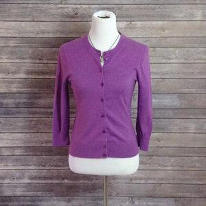 j. crew Purple ¾ Sleeve Fuscia Fitted Cardigan